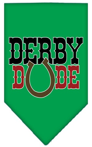 Derby Dude Screen Print Bandana Emerald Green Large