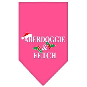 Aberdoggie Christmas Screen Print Bandana Bright Pink Small