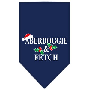 Aberdoggie Christmas Screen Print Bandana Navy Blue Small