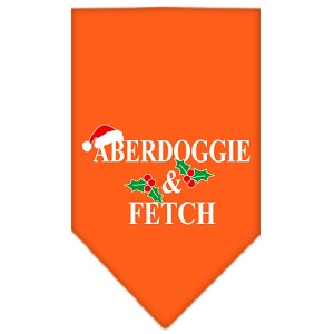 Aberdoggie Christmas Screen Print Bandana Orange Large