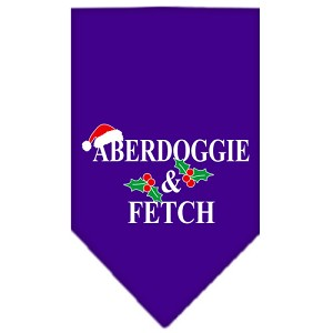 Aberdoggie Christmas Screen Print Bandana Purple Small