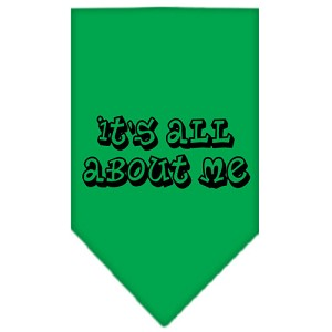 It's All About Me Screen Print Bandana Emerald Green Small