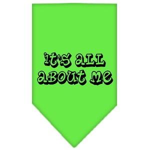 It's All About Me Screen Print Bandana Lime Green Small