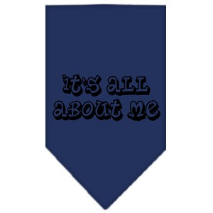 It's All About Me Screen Print Bandana Navy Blue Small