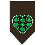 Argyle Heart Green Screen Print Bandana Cocoa Small