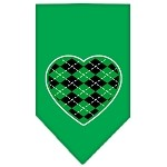 Argyle Heart Green Screen Print Bandana Emerald Green Small