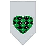Argyle Heart Green Screen Print Bandana Grey Small