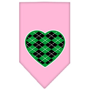 Argyle Heart Green Screen Print Bandana Light Pink Large
