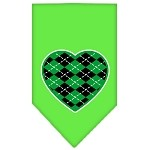 Argyle Heart Green Screen Print Bandana Lime Green Small