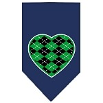 Argyle Heart Green Screen Print Bandana Navy Blue Small
