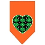 Argyle Heart Green Screen Print Bandana Orange Small