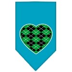 Argyle Heart Green Screen Print Bandana Turquoise Small