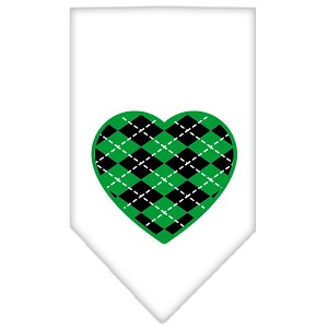 Argyle Heart Green Screen Print Bandana White Small