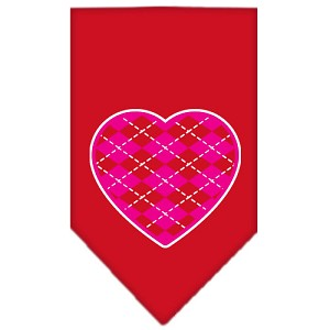 Argyle Heart Pink Screen Print Bandana Red Small