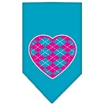 Argyle Heart Pink Screen Print Bandana Turquoise Small
