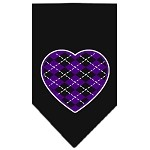 Argyle Heart Purple Screen Print Bandana Black Small