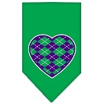 Argyle Heart Purple Screen Print Bandana Emerald Green Small