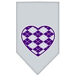 Argyle Heart Purple Screen Print Bandana Grey Small