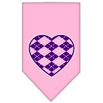 Argyle Heart Purple Screen Print Bandana Light Pink Small