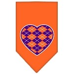 Argyle Heart Purple Screen Print Bandana Orange Small