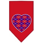 Argyle Heart Purple Screen Print Bandana Red Small