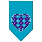 Argyle Heart Purple Screen Print Bandana Turquoise Small
