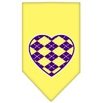 Argyle Heart Purple Screen Print Bandana Yellow Small