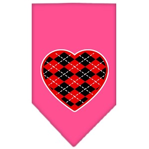 Argyle Heart Red Screen Print Bandana Bright Pink Small