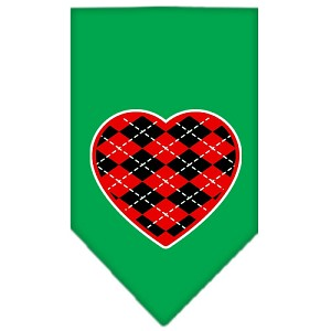 Argyle Heart Red Screen Print Bandana Emerald Green Small