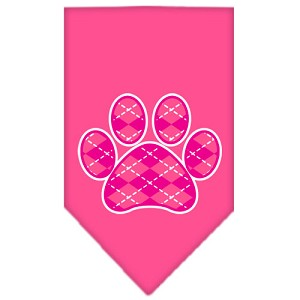 Argyle Paw Pink Screen Print Bandana Bright Pink Large