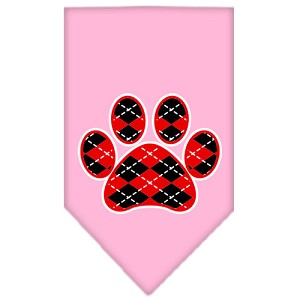 Argyle Paw Red Screen Print Bandana Light Pink Small