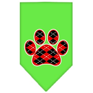 Argyle Paw Red Screen Print Bandana Lime Green Small