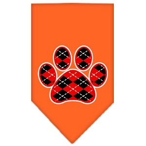 Argyle Paw Red Screen Print Bandana Orange Small