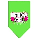Birthday girl Screen Print Bandana Lime Green Small