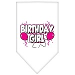 Birthday Girl Screen Print Bandana White Small