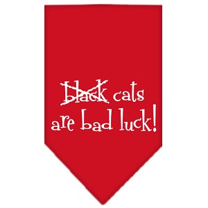Black Cats are Bad Luck Screen Print Bandana Red Small