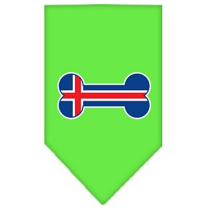 Bone Flag Iceland Screen Print Bandana Lime Green Small