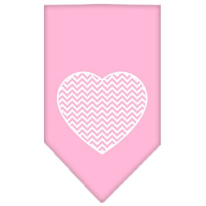 Chevron Heart Screen Print Bandana Light Pink Large