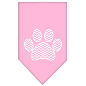 Chevron Paw Screen Print Bandana Light Pink Large