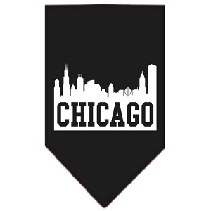 Chicago Skyline Screen Print Bandana Black Large