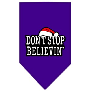Dont Stop Believin Screen Print Bandana Purple Large