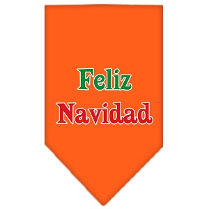 Feliz Navidad Screen Print Bandana Orange Large