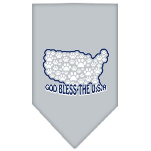 God Bless USA Screen Print Bandana Grey Small