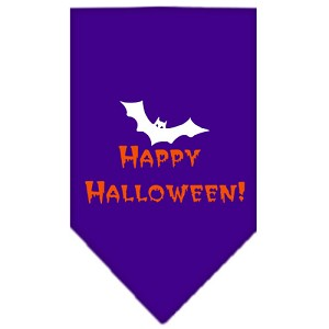 Happy Halloween Screen Print Bandana Purple Small