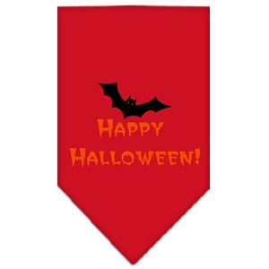 Happy Halloween Screen Print Bandana Red Small