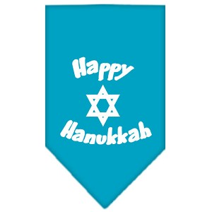 Happy Hanukkah Screen Print Bandana Turquoise Small