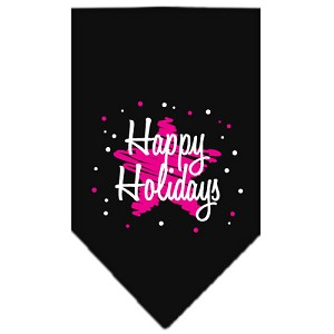 Scribble Happy Holidays Screen Print Bandana Black Small