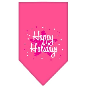 Scribble Happy Holidays Screen Print Bandana Bright Pink Small