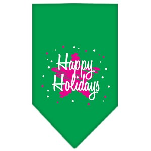 Scribble Happy Holidays Screen Print Bandana Emerald Green Small