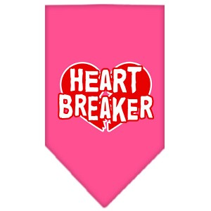Heart Breaker Screen Print Bandana Bright Pink Large